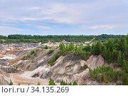 Купить «Colorful industrial landscape - old kaolin quarry», фото № 34135269, снято 12 июня 2020 г. (c) Евгений Харитонов / Фотобанк Лори