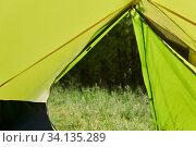 Купить «View from the hiking dome tent to the forest in summer», фото № 34135289, снято 25 июня 2020 г. (c) Евгений Харитонов / Фотобанк Лори