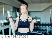 Junge Frau trainiert Kraft und Bizeps Muskel mit Kurzhanteln im Fitnesscenter. Стоковое фото, фотограф Zoonar.com/Robert Kneschke / age Fotostock / Фотобанк Лори