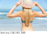 Купить «Rear view of woman with hat standing on the beach», фото № 34141189, снято 25 февраля 2020 г. (c) Wavebreak Media / Фотобанк Лори