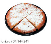 Italian Pine Nut Cake on black plate cut out on white background. Стоковое фото, фотограф Zoonar.com/Valery Voennyy / easy Fotostock / Фотобанк Лори