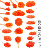 Collage from various spoons with red salmon caviar isolated on white background. Стоковое фото, фотограф Zoonar.com/Valery Voennyy / easy Fotostock / Фотобанк Лори