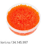 Plastic container with salted russian red caviar of pink salmon fish isolated on white background. Стоковое фото, фотограф Zoonar.com/Valery Voennyy / easy Fotostock / Фотобанк Лори