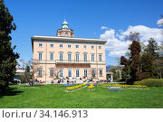 Villa Ciani of 19th century in the Park Ciani at the lake Lugano on a spring sunny day. City of Lugano, canton of Ticino, Switzerland, Europe. (2018 год). Редакционное фото, фотограф Bala-Kate / Фотобанк Лори