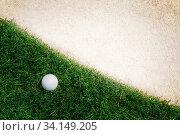 Купить «Golf ball on green tee», фото № 34149205, снято 11 июля 2020 г. (c) easy Fotostock / Фотобанк Лори