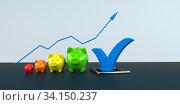 Купить «Growth chart of piggy bank with blue tick on the table. 3d illustration.», фото № 34150237, снято 5 августа 2020 г. (c) easy Fotostock / Фотобанк Лори