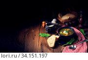Rustikal Sorrel soup with potatoes and cream. Стоковое фото, фотограф Zoonar.com/Darius Dzinnik / easy Fotostock / Фотобанк Лори