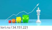 Купить «Successful strategy in investing money visualized with piggy banks. 3d illustration.», фото № 34151221, снято 5 августа 2020 г. (c) easy Fotostock / Фотобанк Лори