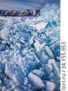 Купить «Huge beautiful snowflakes on the ice of Lake Baikal», фото № 34155953, снято 26 января 2020 г. (c) Владимир Мельников / Фотобанк Лори