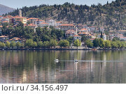 Купить «Panorama of a mountain lake and the city», фото № 34156497, снято 25 августа 2017 г. (c) Татьяна Ляпи / Фотобанк Лори