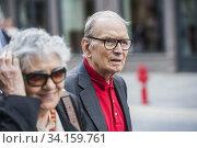 Ennio Morricone with wife Maria, Rome, ITALY-10-07-2014. Редакционное фото, фотограф Alessandro Serrano' / AGF/Alessandro Serrano' / / age Fotostock / Фотобанк Лори