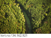 Aerial View Green Forest Woods And River Marsh Bog In Summer Landscape. Top View Of Beautiful European Nature From High Attitude In Summer Season. Drone View. Bird's Eye View. Стоковое фото, фотограф Ryhor Bruyeu / easy Fotostock / Фотобанк Лори