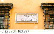 Купить «The indication of the Via Giulia address in an old marble sign in Rome.», фото № 34163897, снято 14 июля 2020 г. (c) easy Fotostock / Фотобанк Лори