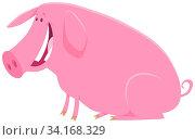 Cartoon Illustration of Cute Happy Pig Farm Animal Character. Стоковое фото, фотограф Zoonar.com/Igor Zakowski / easy Fotostock / Фотобанк Лори