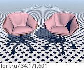 Moderne gepolsterte Sessel mit Rollen. Стоковое фото, фотограф Zoonar.com/Dr. Norbert Lange / easy Fotostock / Фотобанк Лори