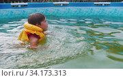Купить «A little boy swimming in the inflatable swimming pool at the cottage outdoors», видеоролик № 34173313, снято 10 июля 2020 г. (c) Константин Шишкин / Фотобанк Лори