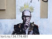 Murals by the street artist Harry Greb dedicated to musician and composer Ennio Morricone in Rome, ITALY-06-07-2020. Редакционное фото, фотограф Francesco Fotia / AGF/Francesco Fotia / AGF / age Fotostock / Фотобанк Лори