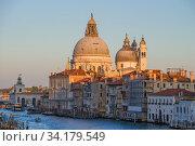 Классический вид на купол собора Basilica di Santa Maria della Салюте солнечным  вечером. Венеция. Италия (2017 год). Стоковое фото, фотограф Виктор Карасев / Фотобанк Лори
