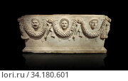 Picture of Roman relief sculpted Sarcophagus of Garlands, 2nd century AD, Perge. This type of sarcophagus is described as a â. œPamphylia Type Sarcophagus... Стоковое фото, фотограф Funkystock / age Fotostock / Фотобанк Лори