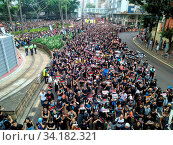 Купить «Hong Kong, 16 June 2019 - Protest crowd in Causeway Bay of Hong Kong, against the extradition law of government.», фото № 34182321, снято 10 июля 2020 г. (c) age Fotostock / Фотобанк Лори