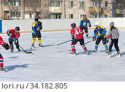 Купить «ARSENYEV, RUSSIA - FEB 22: Ice Hockey, the game of regional amateur teams on February 22, 2016 in Arsenyev, Russia.», фото № 34182805, снято 22 февраля 2016 г. (c) easy Fotostock / Фотобанк Лори