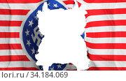 Купить «Ripped American nazi flying flag, over white background, 3d rendering», фото № 34184069, снято 5 августа 2020 г. (c) easy Fotostock / Фотобанк Лори