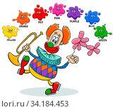 Cartoon Illustration of Basic Colors Educational Worksheet with Funny Clown Character. Стоковое фото, фотограф Zoonar.com/Igor Zakowski / easy Fotostock / Фотобанк Лори