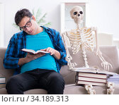 Student studying with skeleton preparing for exams. Стоковое фото, фотограф Elnur / Фотобанк Лори
