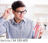 Medical student studing the skeleton. Стоковое фото, фотограф Elnur / Фотобанк Лори