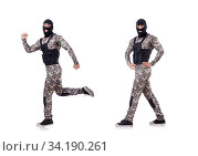 Soldier in camouflage isolated on white. Стоковое фото, фотограф Elnur / Фотобанк Лори