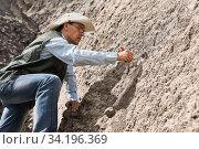 Купить «Paleontologist discovered fossil bone and cleans it with a brush», фото № 34196369, снято 13 июня 2020 г. (c) Евгений Харитонов / Фотобанк Лори