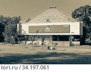 Купить «Moscow, Russia - June 13, 2020: VDNH park at sunny summer morning. Pavilion 46. VDNH is popular historical place in Moscow», фото № 34197061, снято 13 июня 2020 г. (c) Григорий Стоякин / Фотобанк Лори