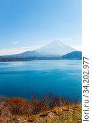 Купить «Mountain Fuji fujisan with Motosu lake at Yamanashi Japan», фото № 34202977, снято 7 августа 2020 г. (c) easy Fotostock / Фотобанк Лори