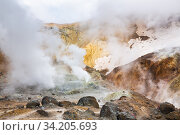 Купить «Volcanic landscape, crater of active volcano: hot spring, fumarole, lava field, gas-steam activity. Dramatic mountain landscape, travel destinations», фото № 34205693, снято 9 сентября 2015 г. (c) А. А. Пирагис / Фотобанк Лори