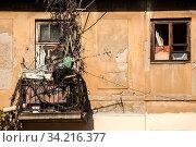 Купить «Old grunge neglected city buildings backside view», фото № 34216377, снято 15 июля 2020 г. (c) easy Fotostock / Фотобанк Лори
