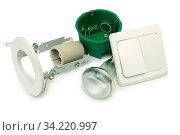 Купить «A set of equipment for installation of lighting in the apartment on a white background», фото № 34220997, снято 15 июля 2020 г. (c) easy Fotostock / Фотобанк Лори