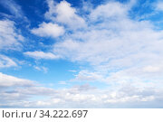 White cumulus clouds in blue sky at day. Стоковое фото, фотограф EugeneSergeev / Фотобанк Лори