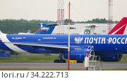 Купить «Cargo airplane taxiing before departure», видеоролик № 34222713, снято 10 июня 2020 г. (c) Игорь Жоров / Фотобанк Лори