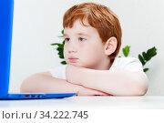 A child studies information. Стоковое фото, фотограф Игорь Лейчонок / Фотобанк Лори