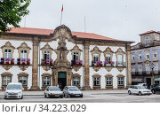 The Braga Town Hall is a landmark building located in Braga, Portugal. In there is located the Camara Municipal, the city local government. Редакционное фото, фотограф Николай Коржов / Фотобанк Лори