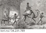Captured men from Keri in the Sudan are led into slavery by Turkish slave traders. After a c. 1855 work by French painter and illustrator Karl Girardet, 1813 - 1871. Стоковое фото, фотограф Classic Vision / age Fotostock / Фотобанк Лори