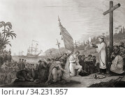 Columbus lands in the New World. From a 19th century engraving by George Lang, after a work by John James Barralet. Стоковое фото, фотограф Classic Vision / age Fotostock / Фотобанк Лори