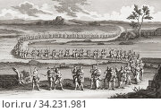 Procession of flagellants. The practice of flagellantism was prevalent in the 14th century perhaps in response to the Black Death. From an etching by Caspar Jacobsz after a work by Pernard Picart. Стоковое фото, фотограф Classic Vision / age Fotostock / Фотобанк Лори