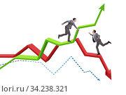 Купить «Businessman saving competitor during the crisis», фото № 34238321, снято 4 августа 2020 г. (c) Elnur / Фотобанк Лори