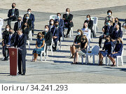 King Felipe VI of Spain, Queen Letizia of Spain, Crown Princess Leonor, Princess Sofia attend Spanish Royals attends State tribute to the victims of the... Редакционное фото, фотограф Manuel Cedron / age Fotostock / Фотобанк Лори