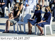 Купить «Queen Letizia of Spain, Crown Princess Leonor, Princess Sofia attend Spanish Royals attends State tribute to the victims of the coronavirus (Covid-19)...», фото № 34241297, снято 16 июля 2020 г. (c) age Fotostock / Фотобанк Лори