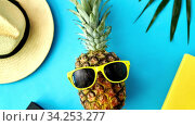 Купить «pineapple in sunglasses, hat, camera and palm leaf», видеоролик № 34253277, снято 3 августа 2020 г. (c) Syda Productions / Фотобанк Лори