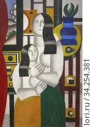 Two Women, Fernand Leger, 1922, National Gallery of Art, Washington DC, USA, North America. Стоковое фото, фотограф Peter William Barritt / age Fotostock / Фотобанк Лори