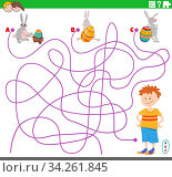 Cartoon Illustration of Lines Maze Puzzle Game with Boy and Funny Easter Bunnies Characters. Стоковое фото, фотограф Zoonar.com/Igor Zakowski / easy Fotostock / Фотобанк Лори