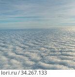 Купить «Top view of overcast clouds from aerial view», фото № 34267133, снято 17 ноября 2019 г. (c) Володина Ольга / Фотобанк Лори